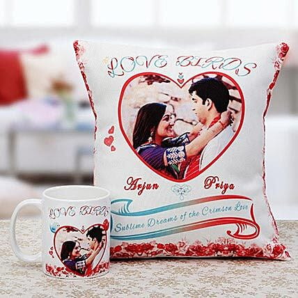 Love Birds Personalised Cuhsion & Mug Combo: Personalised Gifts Combos