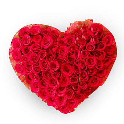 Precious 100 Red Roses Heart: Heart Shaped Flowers