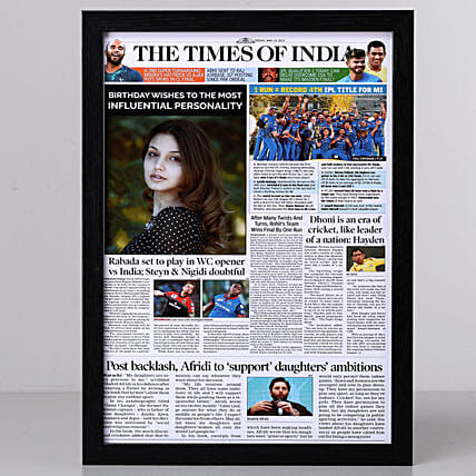 TOI Front Page Personalised Frame-Birthday: Personalised Photo Frames Delhi