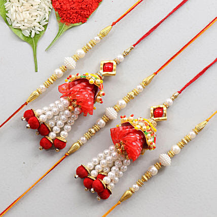 Traditional Set Of 5 Family Rakhis: Send Set of 5 Rakhi