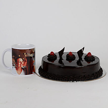 Truffle Cake & Personalised Mug For Mom:
