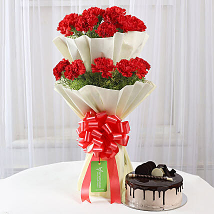 Two Layer Red Carnations Bouquet & Chocolate Cake Combo: Flowers & Cake Combos