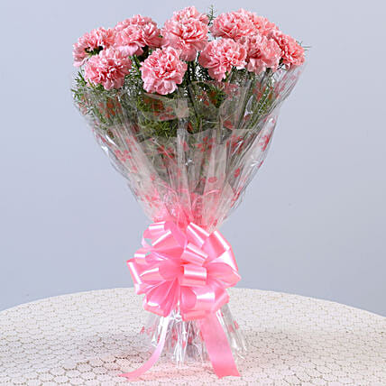 Unending Love-12 Light Pink Carnations Bouquet: Pink Flowers