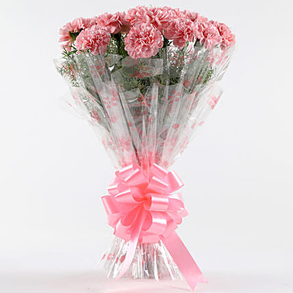 Unending Love-12 Light Pink Carnations Bouquet: Send Carnations