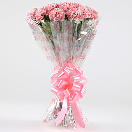 Unending Love-18 Light Pink Carnations Bouquet: Send Carnations