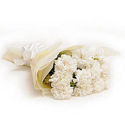 12 White Carnations: Send Gifts to Durg