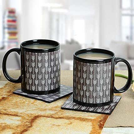 Black Duo Mugs With Coasters: Coasters Gifts