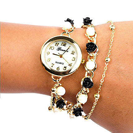 Black N White Pearl Watch For Women: Buy Watches