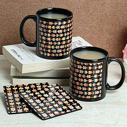 Black Print Coasters With Mugs: Coasters Gifts