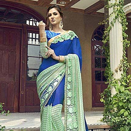 Blue Georgette Net Half n Half Embroidered Partywear Saree: