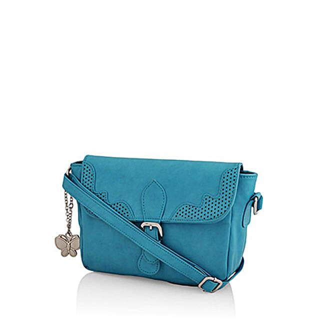 Butterflies Classy Sky Blue Sling Bag: Handbag Gifts