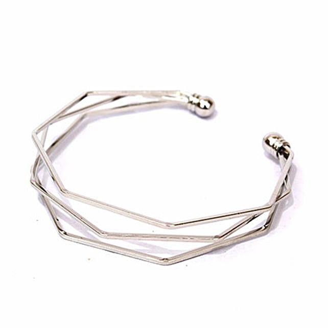 Charming Hexagon Silver Bracelet: Bangles