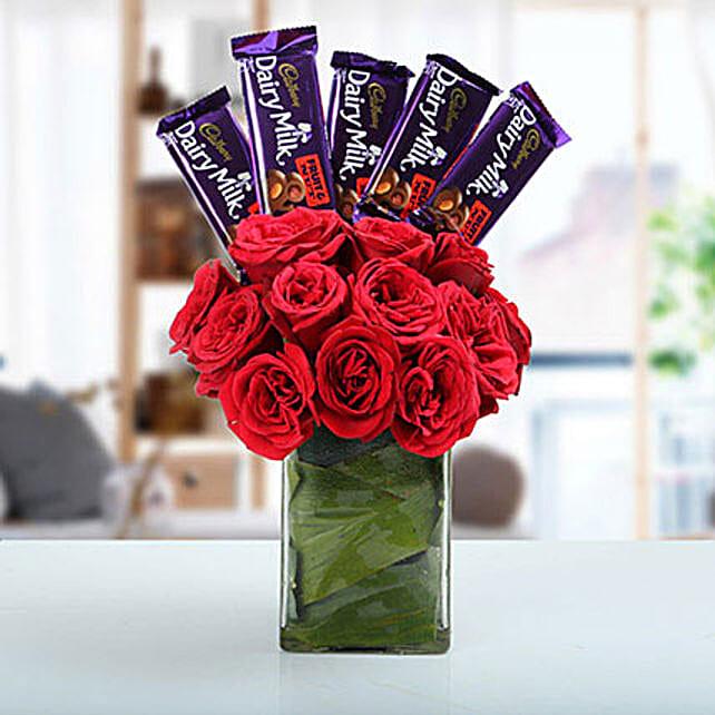 Classic Choco Flower Arrangement: Roses