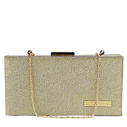 Classic Lino Perros Golden Women Clutch: Fashion Accessories