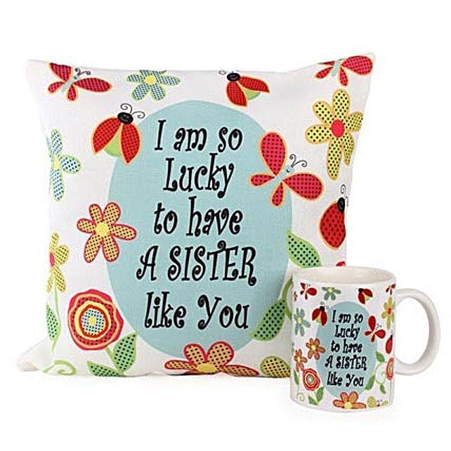 Cushion Mug For Sisters: Cushions and Mugs Combo