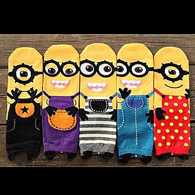 Cute Minions Full Length Socks 5 Pairs: Apparel Gifts