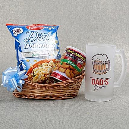 Dads Beer Mug N Chakhna Combo: Send Fathers Day Gift Hampers