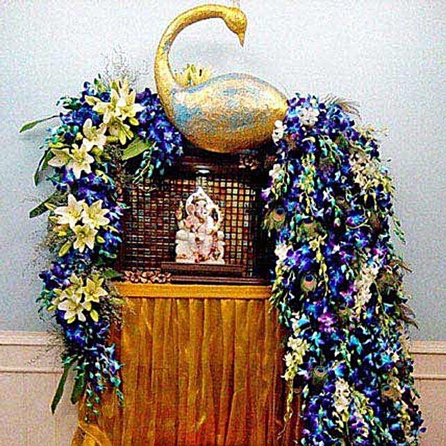 Dazzling Blue Flower Decoration: Devotional Decoration Services