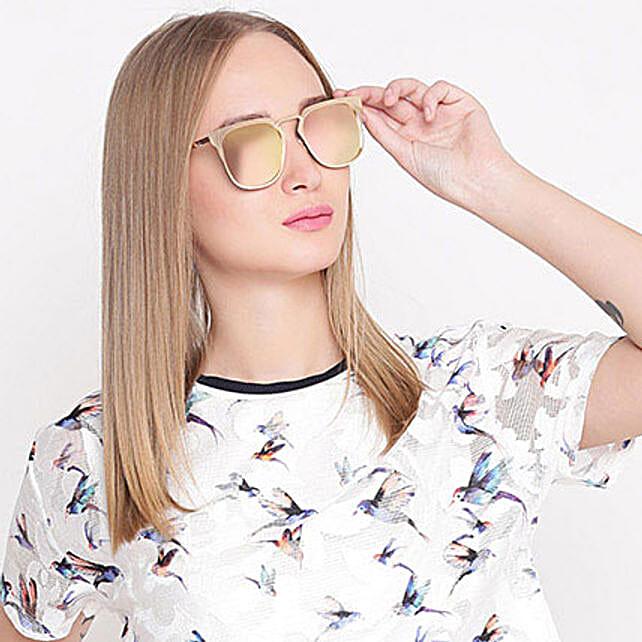 Golden Wayfarer Mirrored Unisex Sunglasses: Sunglasses
