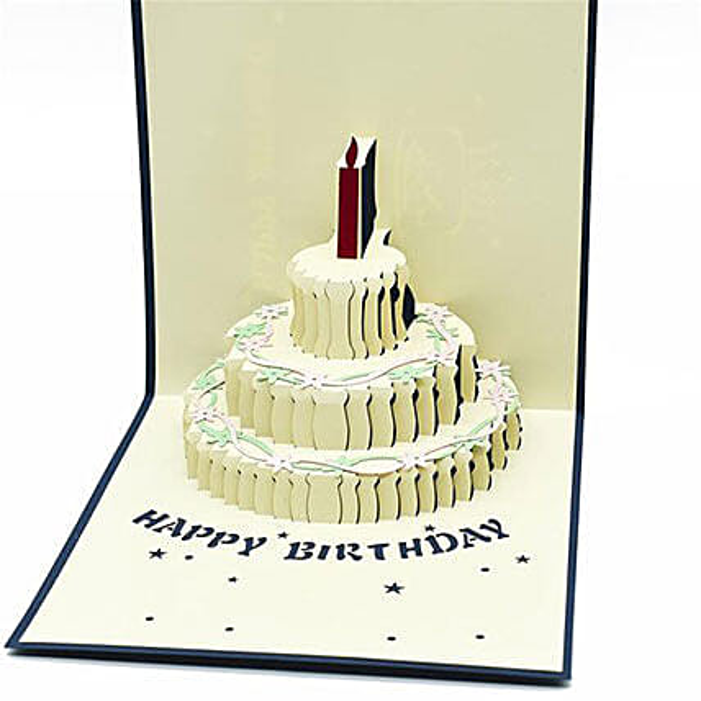 Handmade 3D Pop Up Semi Open Birthday Cake Greeting Card: Greeting Cards