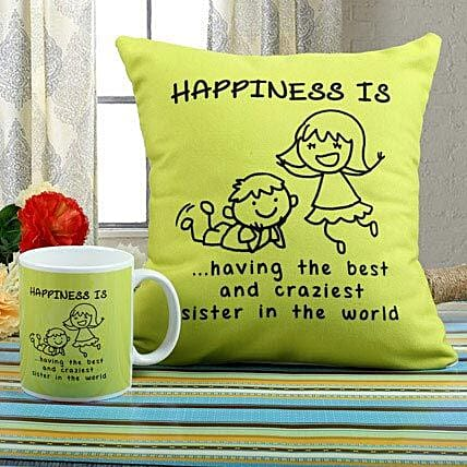 Happiness Mug N Cushion Combo: Rakhi / Raksha Bandhan Gifts