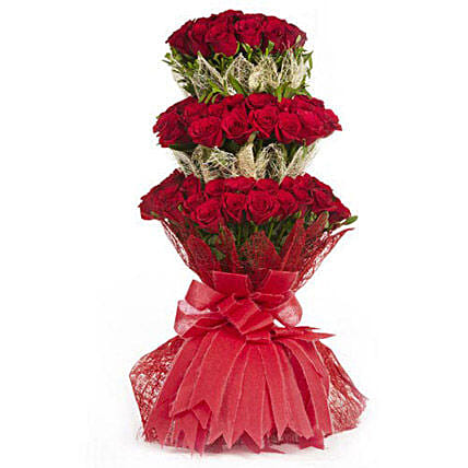 3 Layer Red Roses Bouquet: Exotic Rose Arrangements