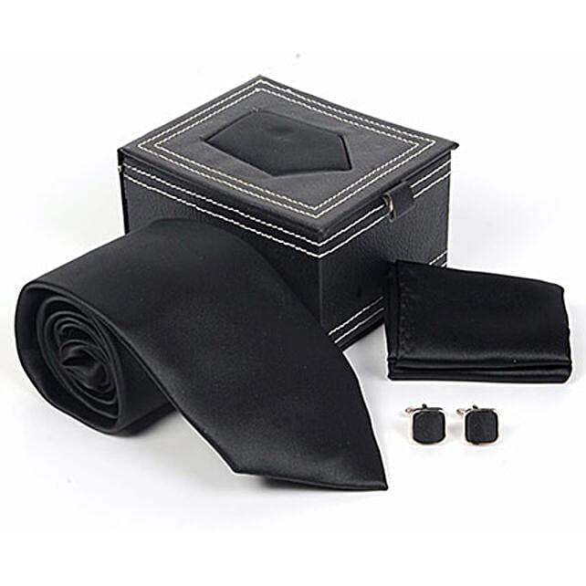 Jet Black Tie Set: Ties and Cufflinks