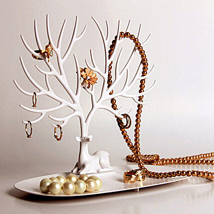 Jewelry Tree Tray White: Funny Gifts