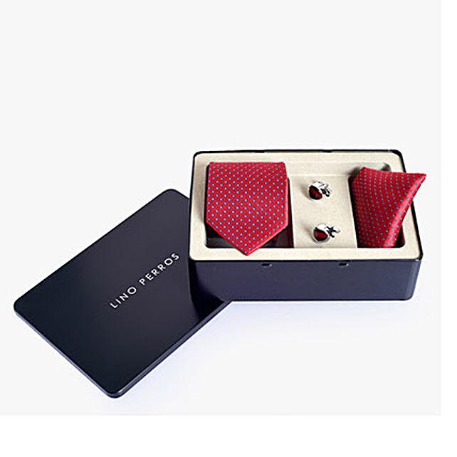 Lino Perros Tie Set Red: Send Ties and Cufflinks