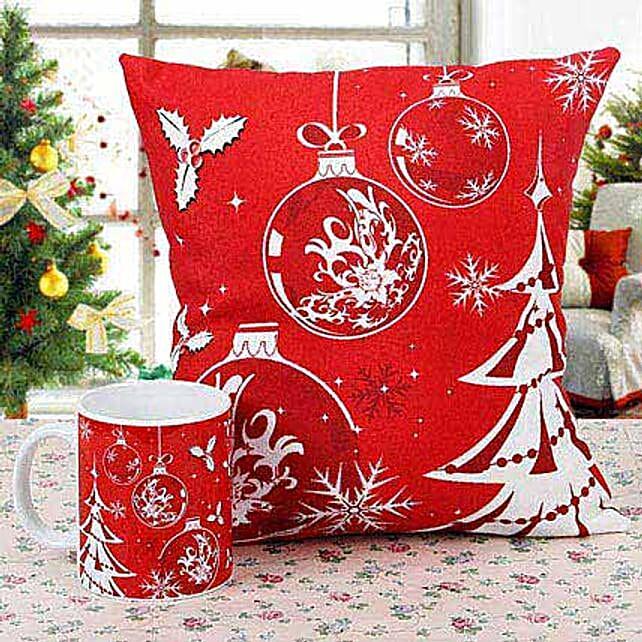Merry Christmas Cushion with Mug: Buy Christmas Combos