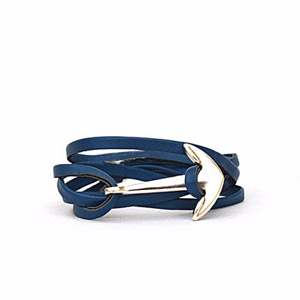 Navy Anchor Loop Bracelet: Accessories