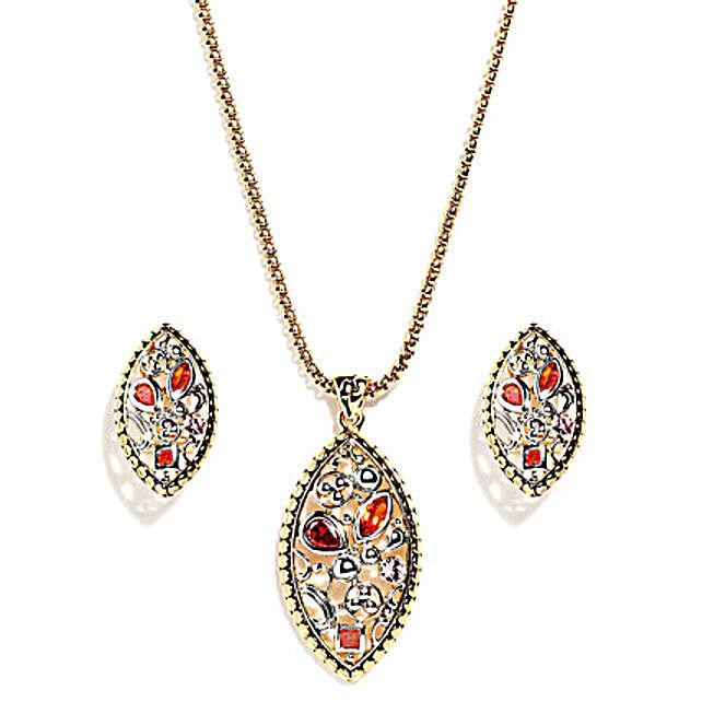Olivary Irregular Pattern Jewelry Set: Gold Plated Gifts