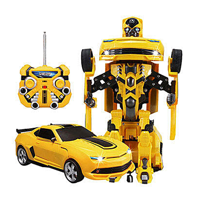 One Button Transforming Car Yellow: Toys and Games
