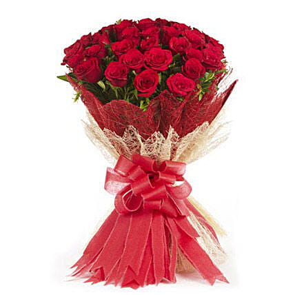Passionate Love- 50 Velvety Red Roses Bunch: Hug Day Gifts
