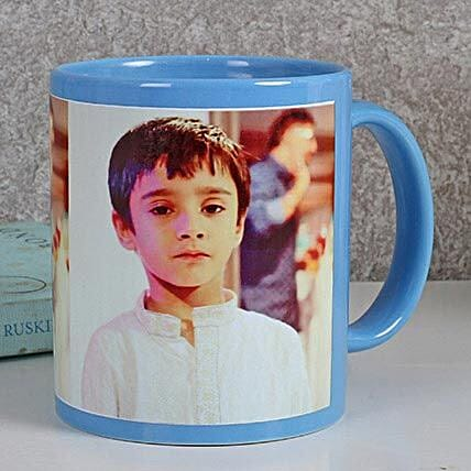 Personalized Blue Ceramic Mug: Custom Photo Coffee Mugs