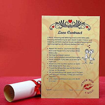Personalized Love Contract: Unique Gifts