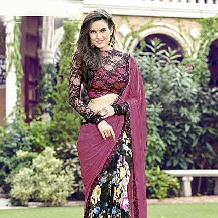 Pink and Black Festive Printed Saree: Saree Gifts
