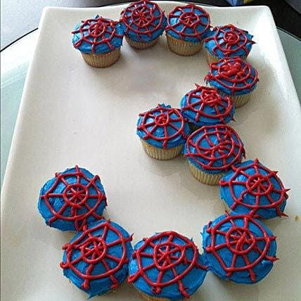 Platter of Spiderman Cupcakes: Cupcakes