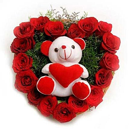 Roses N Soft toy: Heart Shaped Flowers
