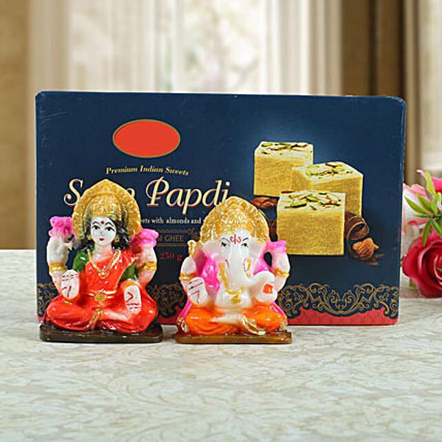 Soan Papdi with Lashmi Ganesha: Laxmi Ganesha Idol Gifts