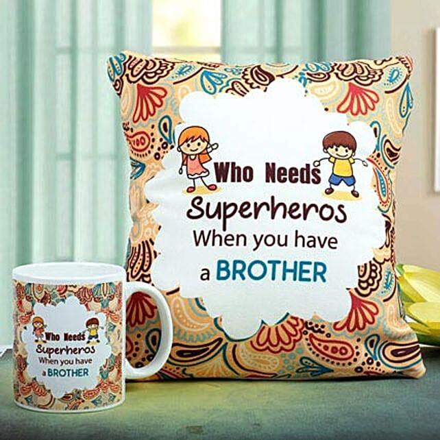 Superhero Mug N Cushion Combo: Rakhi