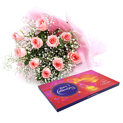 Celebrations with Pink Roses: Buy Return Gifts
