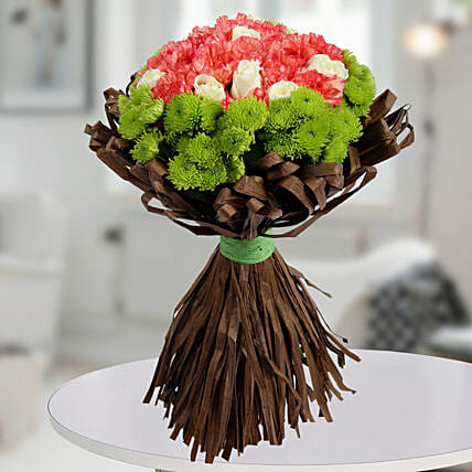 Charismatic Carnations N Roses Bunch: