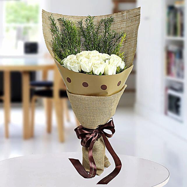 Fresh White Roses Bunch: Condolence