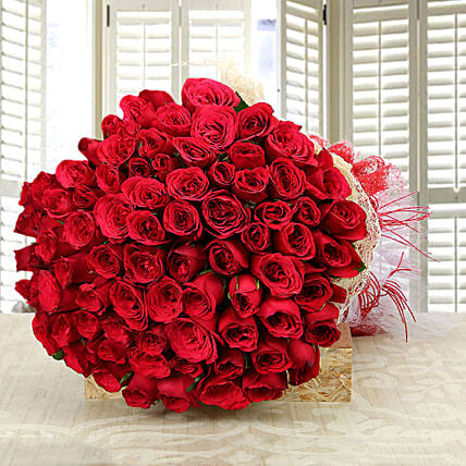 Enchanting Love- Classy 75 Red Roses Bunch: Roses