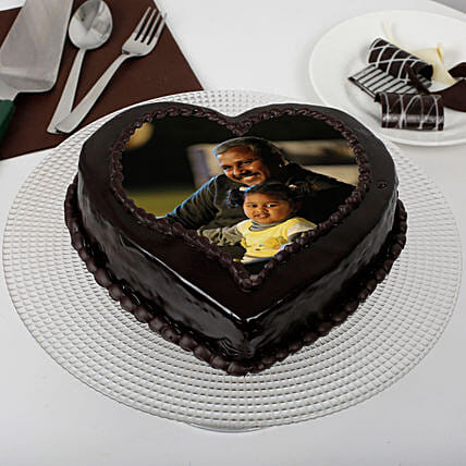 Heart Shaped Chocolate Truffle Photo Cake for Dad: Send Photo Cakes