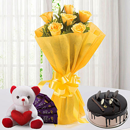 Roses N Choco Hamper: Soft Toys Gifts