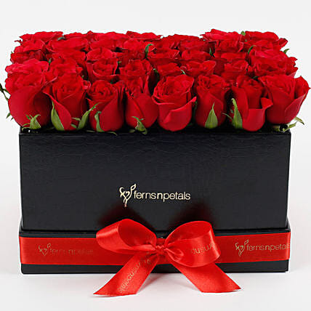 Ravishing 40 Red Roses Box Arrangement: