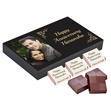 Personalised Anniversary Chocolate Box- Black: Personalized Chocolate Gifts