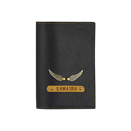 Leather Finish Passport Cover Black: Accessories